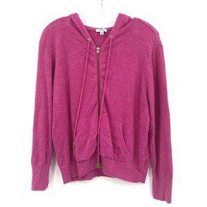Cache XL Zip Up Hoodie Pink Lightweight L/S Fuzzy